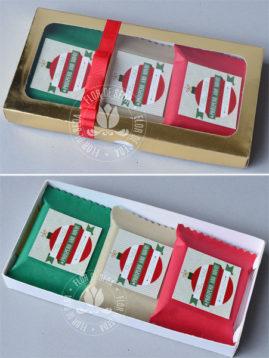 Lembrança de Natal - Caixa dourada com 3 chocolates Talento personalizados