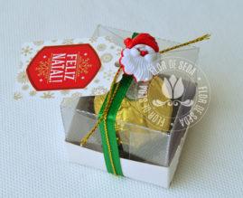 Lembrança de Natal - Caixa com um bombom Ferrero Rocher, botão e tag personalizada
