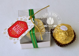 Lembrança de Natal - Caixa com um bombom Ferrero Rocher e tag personalizada