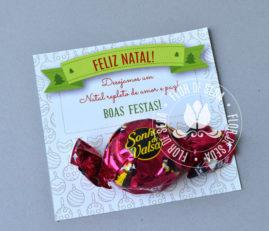Brinde de Natal - Cartão de Natal personalizado com bombom Sonho de Valsa