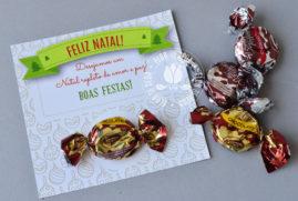 Brinde de Natal - Cartão de Natal personalizado com bala Toffe
