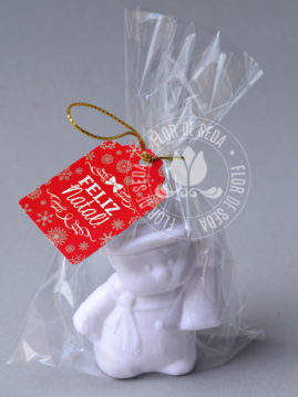 Lembrança de Natal sabonete Boneco de Neve no saquinho de celofane e tag personalizado