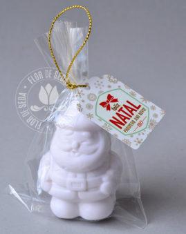 Lembrança de Natal sabonete Papai Noel no saquinho de celofane e tag personalizado