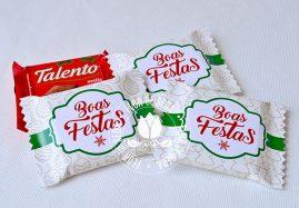 Lembrança de Natal e Ano Novo - Chocolate Talento com embalagem personalizada