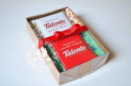 Lembrança de Natal e Ano Novo - Caixa com 2 Chocolates Talento com embalagem personalizada