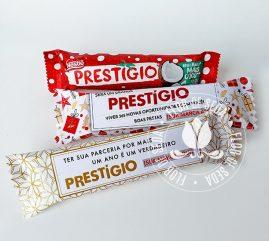 Lembrança de Natal e Ano Novo - Chocolate Prestigio com embalagem personalizada