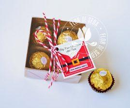 Lembrança de Natal e Ano Novo - Caixa com 4 Ferrero Rocher e tag personalizada