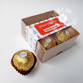 Lembrança de Natal e Ano Novo - Caixa com 4 Ferrero Rocher e cinta personalizada