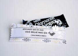Lembrança de Natal e Ano Novo - Chocolate Diamante Negro com embalagem personalizada