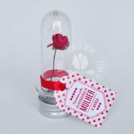 Lembrança dia Internacional da Mulher-Minitubete com rosa e tag personalizado com logotipo do cliente