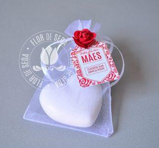Brindes e lembranças para o dia das Mães -Sache Sabonete de Coração médio e tag personalizada com logotipo do cliente
