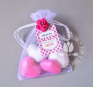 Brindes e lembranças para o dia das Mães -Sache 2 Mini Sabonetes Coração e tag personalizada com logotipo do cliente