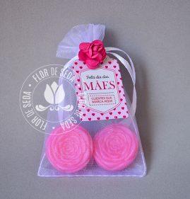 Brindes e lembranças para o dia das Mães -Sache 2 Mini Sabonetes Florzinha e tag personalizada com logotipo do cliente