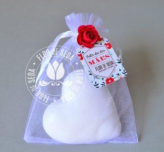 Brindes e lembranças para o dia das Mães -Sache Sabonete de Coração grande e tag personalizada com logotipo do cliente