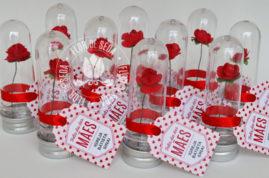 Lembrança dia das Mães Mini tubete com rosa e tag personalizada com tampa metálica