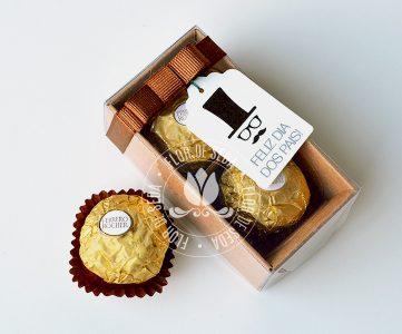 Lembrança Dia dos Pais Caixa com 2 bombons Ferrero Rocher
