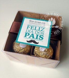 Lembrança Dia dos Pais Caixa com 4 bombons Ferrero Rocher