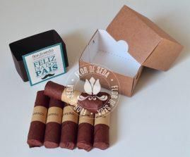 Lembrança Dia dos Pais Caixa com 6 charutos de chocolate