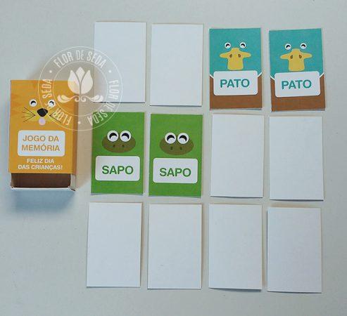 Lembrancinha dia das crianças educativa-Jogo da Memória Bichos na caixinha personalizada