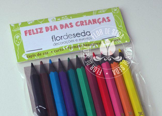 Lembrancinha dia das crianças educativa-Lápis de Cor com lapela personalizada