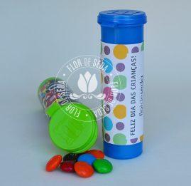 Lembrancinha dia das crianças-Tubo confeitos chocolate personalizado