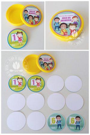 Lembrancinha dia das crianças educativa-Jogo da Memória Números na Latinha de plástico personalizada