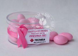 Outubro Rosa - Caixa Acrílica com Amêndoas e tag personalizado