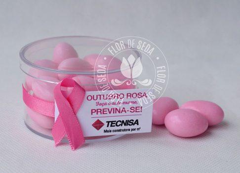 Lembrança Outubro Rosa-Caixinha Acrilica com Amendoas e tag personalizada