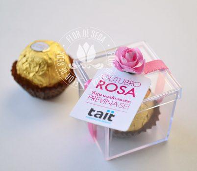 Outubro Rosa - Caixa Acrílica com 1 bombom Ferrero Rocher