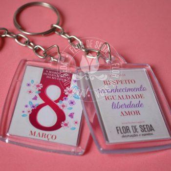 Lembrança dia Internacional da Mulher - Chaveiro Personalizado