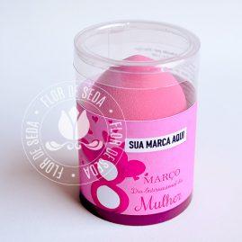 Lembrança dia Internacional da Mulher-Embalagem personalizada com 1 esponja de maquiagem