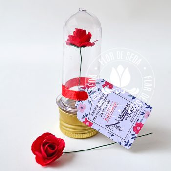Lembrança Mini tubete com rosa e tag personalizado