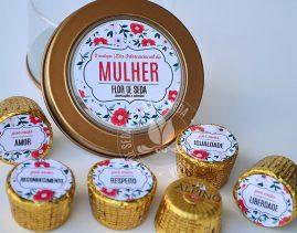 Lembrança dia Internacional da Mulher-Lata de votos com 6 bombons Alpino personalizada com logotipo do cliente