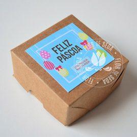Lembranças para Páscoa-Caixa Kraft personalizada com 4 chocolates Alpino