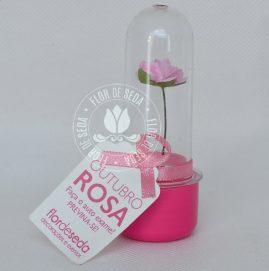 Outubro Rosa - Mini tubete com rosa de papel tag personalizado