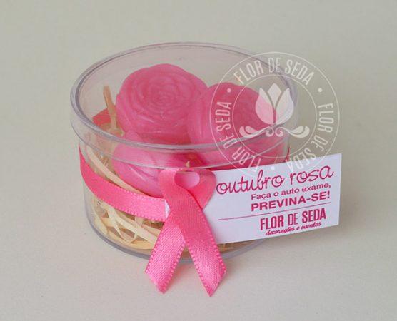 Outubro Rosa - Caixa Acrílica com Mini Sabonetes de Rosinha e tag personalizado