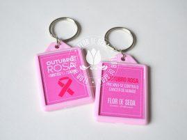 Outubro Rosa - Chaveiro de plástico Colorido personalizado