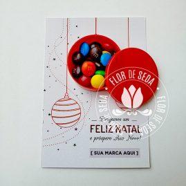 Lembrança de Natal e Ano Novo - Cartões personalizados com confeitos ou MMs