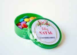 Lembrança de Natal e Ano Novo - Latinhas Mini To Be com confeitos ou MMs