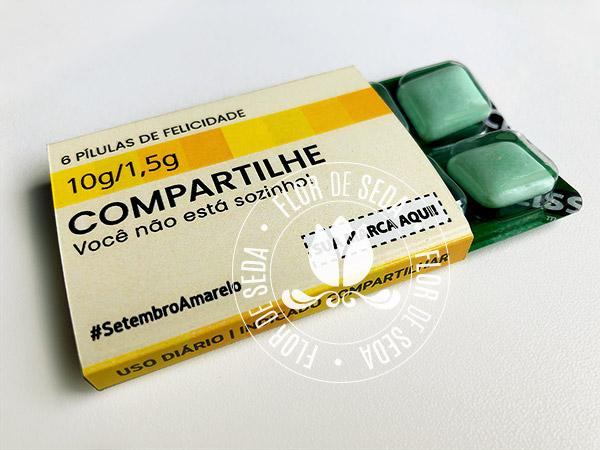 Setembro Amarelo - Pastilhas de Felicidade com embalagem personalizada